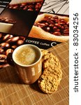 coffee latte with cookies on a... | Shutterstock . vector #83034256