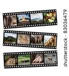 Images of Sri Lanka displayed on black and white film strips, isolated on white. - stock photo