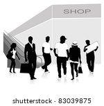 isolated silhouettes of people... | Shutterstock .eps vector #83039875