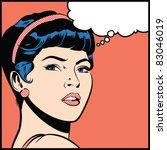 girl looking over her shoulder  ... | Shutterstock .eps vector #83046019