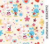 cute bunnies in love seamless... | Shutterstock .eps vector #83063992
