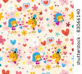 boy and girl in love seamless pattern - stock vector