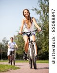 ride a bike on the summer park | Shutterstock . vector #83088847