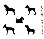 Stock vector five vector dogs silhouettes 83089993