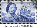 Small photo of AUSTRALIA - CIRCA 1966: A stamp printed in Australia shows Dutch merchant Abel Janszoon Tasman and his ship Heemskerck, circa 1966