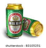 Beer Cans Isolated On White...