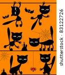 black cats halloween background. | Shutterstock . vector #83122726