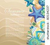 flip flops and shells on the... | Shutterstock .eps vector #83134237