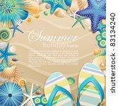 flip flops and shells frame on... | Shutterstock .eps vector #83134240