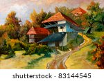 Village scene with old ruin house, this is oil painting and I am author of this image - stock photo