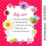 Vector Baby Girl Card With...