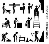 Man People Working Construction Carrying Building Industry Painting Sawing Hard Labor Pictogram Icon Symbol Sign - stock photo