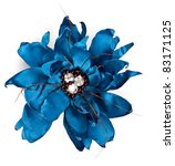 Blue Fabric Flower With...