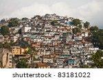 hilltop slum - stock photo
