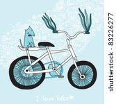 blue background with a bicycle | Shutterstock .eps vector #83226277
