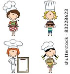 collection of small chef girls... | Shutterstock .eps vector #83228623
