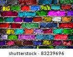 Rainbow Colourful Brick Wall ...