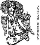 angel girl with tattoo on her... | Shutterstock .eps vector #83248192