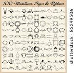 vector set of 100 vinyl ready... | Shutterstock .eps vector #83249506