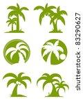 green palm tree set   Shutterstock .eps vector #83290627