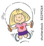 young girl skipping | Shutterstock .eps vector #83299264