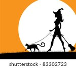 Witch Walking Pet Cat. A...
