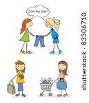 shopaholic girls | Shutterstock .eps vector #83306710