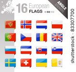 angle stickers   european flags | Shutterstock .eps vector #83307700