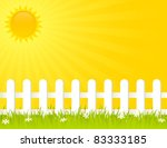 white fence on a sunny summer...