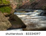 Lower Websters Falls in Hamilton Ontario in the spring. - stock photo