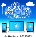 laptop phone tablet  connection.... | Shutterstock .eps vector #83351815