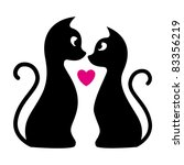 Two Black Cats And Pink Heart...