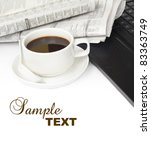 cup of coffee with laptop and... | Shutterstock . vector #83363749