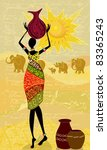 landscape with an african woman ... | Shutterstock .eps vector #83365243