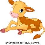 happy smiling little baby calf | Shutterstock .eps vector #83368996