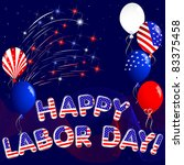 happy labor day with fireworks... | Shutterstock .eps vector #83375458