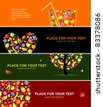 fruits banners horizontal for... | Shutterstock .eps vector #83378086