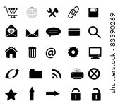 Internet and web site icon set in black - stock vector