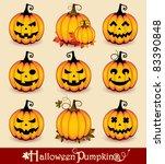 Stock vector halloween pumpkins 83390848