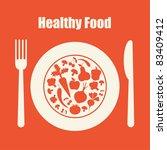 healthy food icon. vector... | Shutterstock .eps vector #83409412