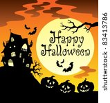 happy halloween theme with moon ... | Shutterstock .eps vector #83413786