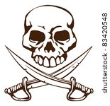 A pirate skull and crossed swords symbol - stock vector