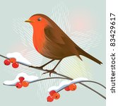 Robin And Winter Berries On A...