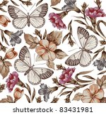 butterflies. flowers. vector.... | Shutterstock .eps vector #83431981