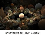 Small photo of Abstract 3D a background from multi-colored full-spheres of the various form