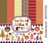 scrapbook autumn forest | Shutterstock .eps vector #83473702