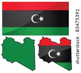 Glossy vector illustration showing map of Libya with flag used by transitional government (and from 1951-1969) - stock vector