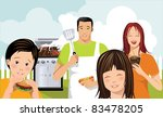 family with grill mom  dad and... | Shutterstock .eps vector #83478205