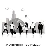 isolated silhouettes of people .... | Shutterstock .eps vector #83492227