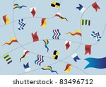 Navigation flags on light blue background. Vector. - stock vector